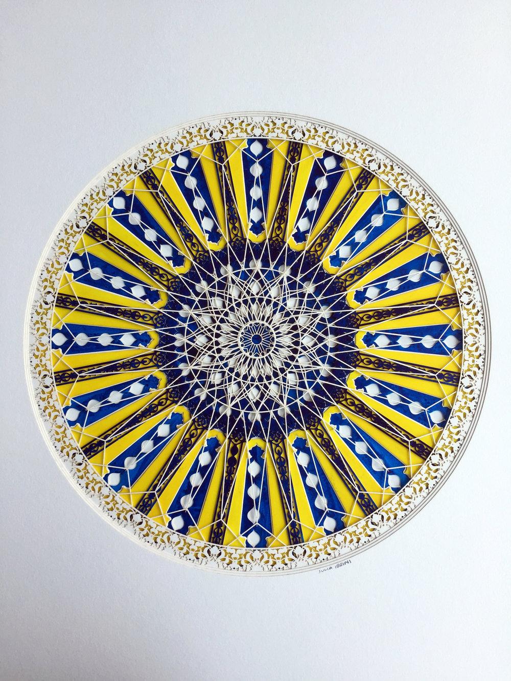 Julia Ibbini,  Aureolin Divided (Circle Studies) , 2017, 19 x 15 x 1.5 inches framed, photo courtesy of the artist
