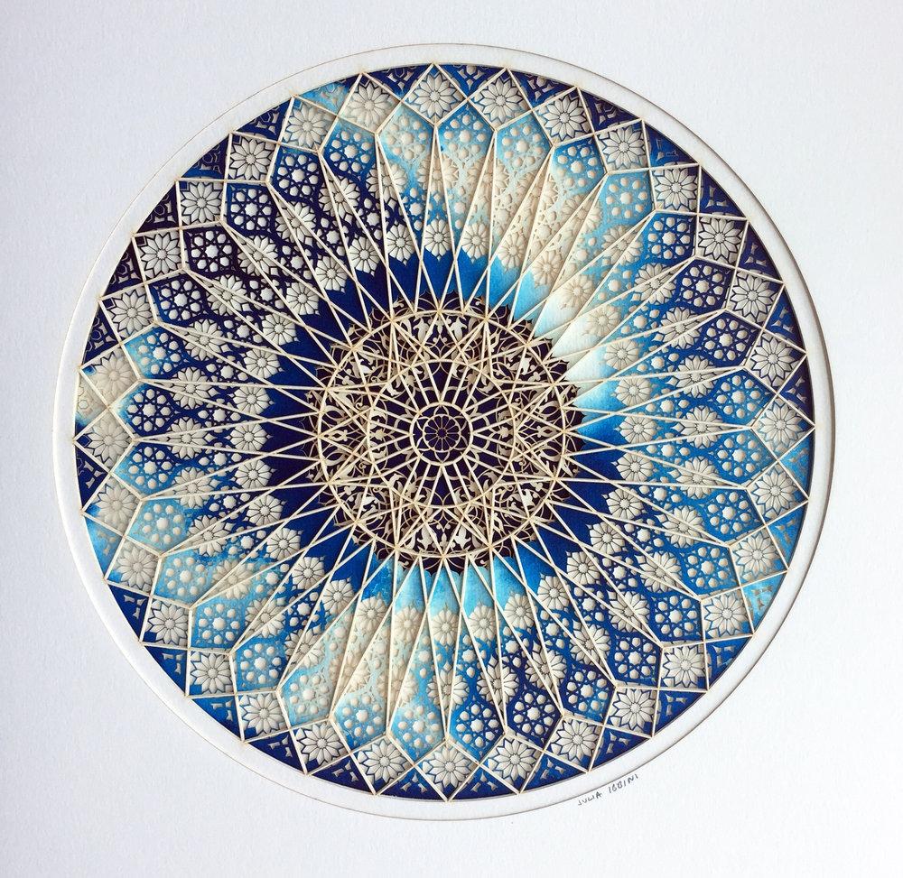 Julia Ibbini,  Cerulean Bleeds(Circle Studies) , 2017, 19 x 15 x 1.5 inches framed, photo courtesy of the artist