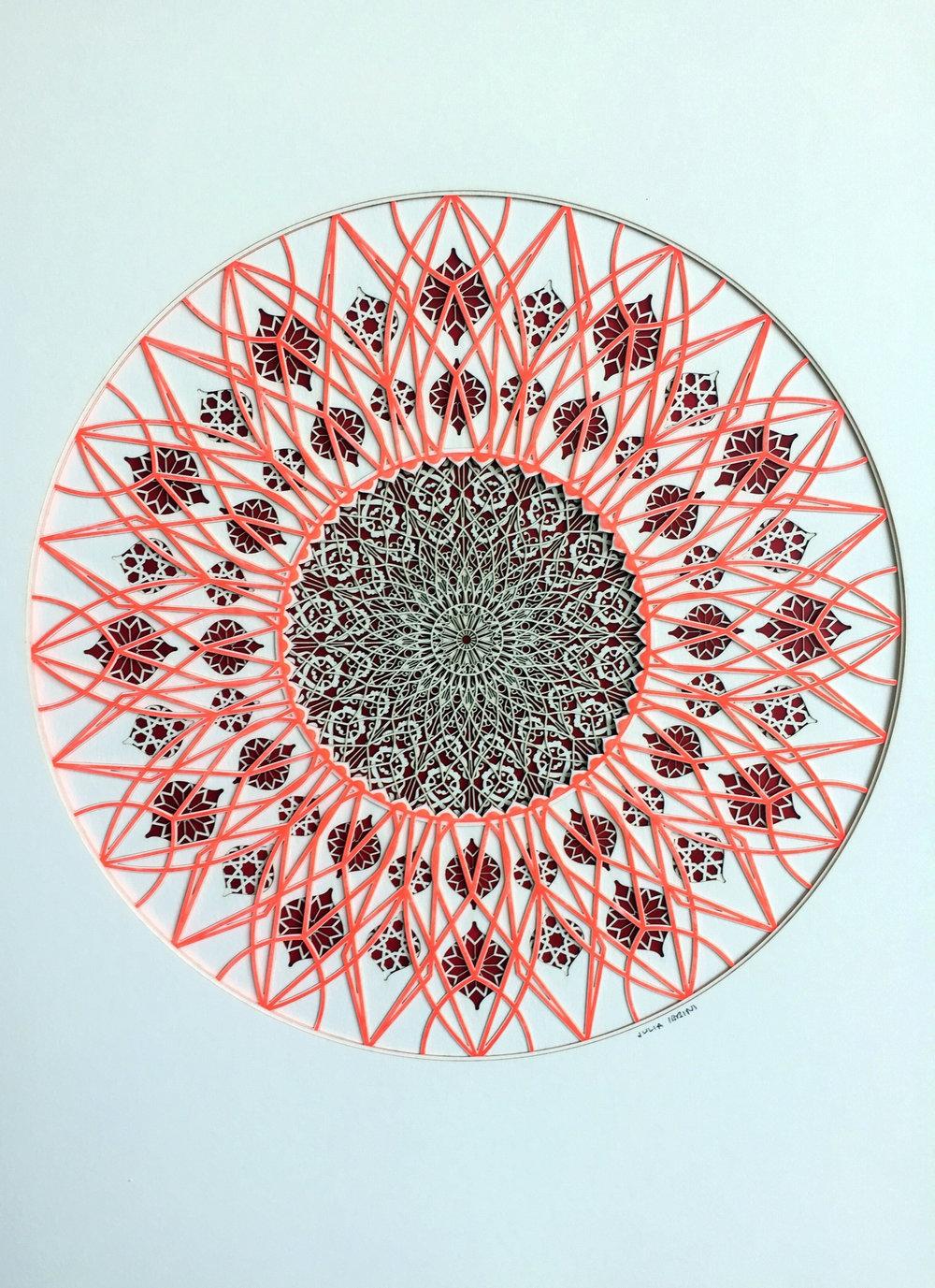 Julia Ibbini,  Cadmium Lines (Circle Studies) , 2017, 19 x 15 x 1.5 inches framed, photo courtesy of the artist