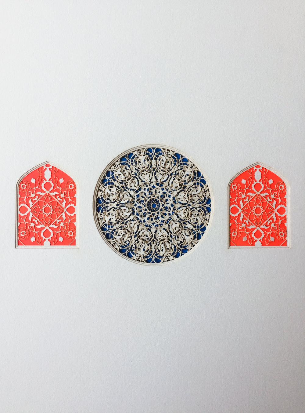Julia Ibbini,  Thalatha(Circle Studies) , 2017, 19 x 15 x 1.5 inches framed, photo courtesy of the artist