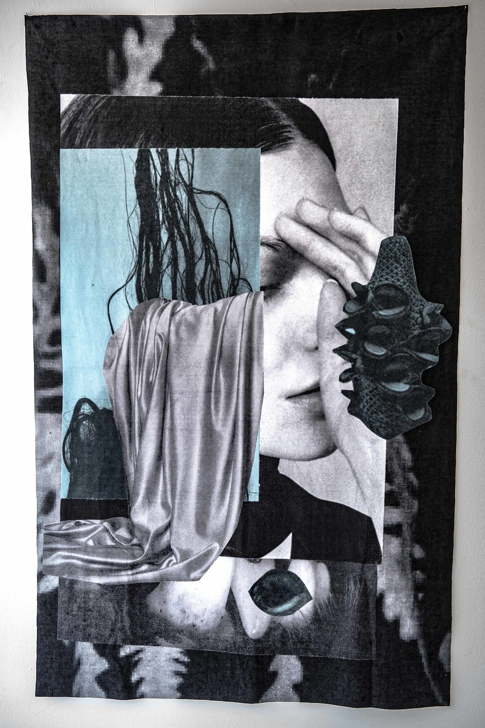Cindy Rehm,  Grey Sisters I , 2018, collage printed on fabric, 56 x 35 inches, photo credit: Jared Kennedy