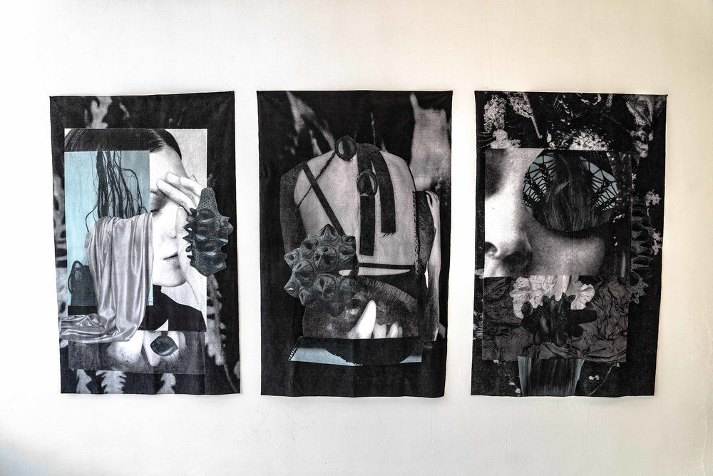 Cindy Rehm,  Grey Sisters I, II & III , 2018, collage printed on fabric, 56 x 35 inches,  photo credit: Jared Kennedy