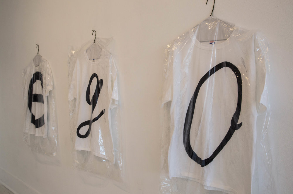 Matthew Sontheimer,  EGO tees,  Sharpie on t-shirts, approx. 34 x 85 in., photo credit: Jared Kennedy