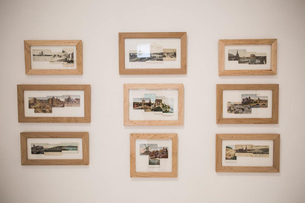 Garric Simonsen,  Postcard series , 2017, vintage postcard collage, photo credit: Jared Kennedy