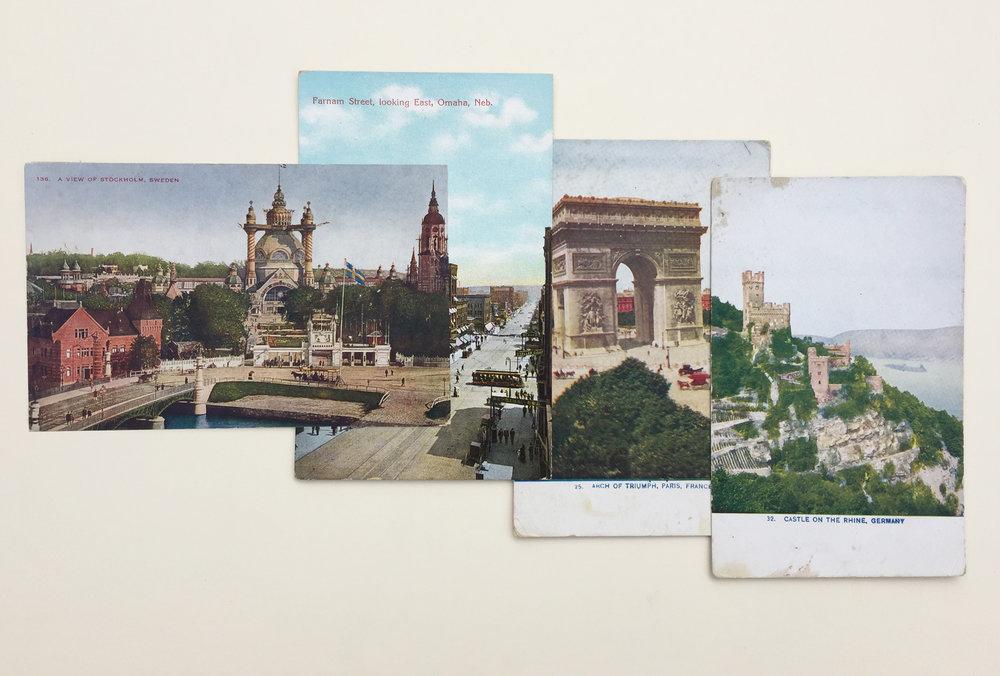 Garric Simonsen,  Postcards , 2017, vintage postcard collage