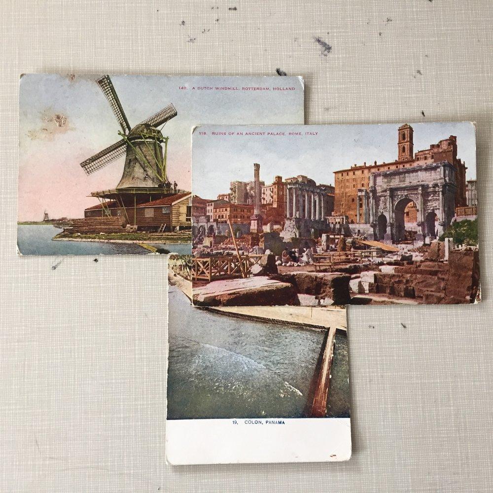 Garric Simonsen,  Postcards 8 , 2017, vintage postcard collage, 13.5 x 14.5 in. framed