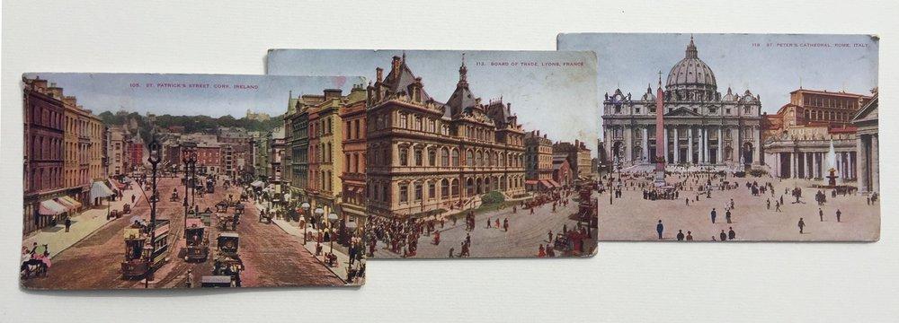 Garric Simonsen,  Postcards 4 , 2017, vintage postcard collage, 13.5 x 14.5 in. framed