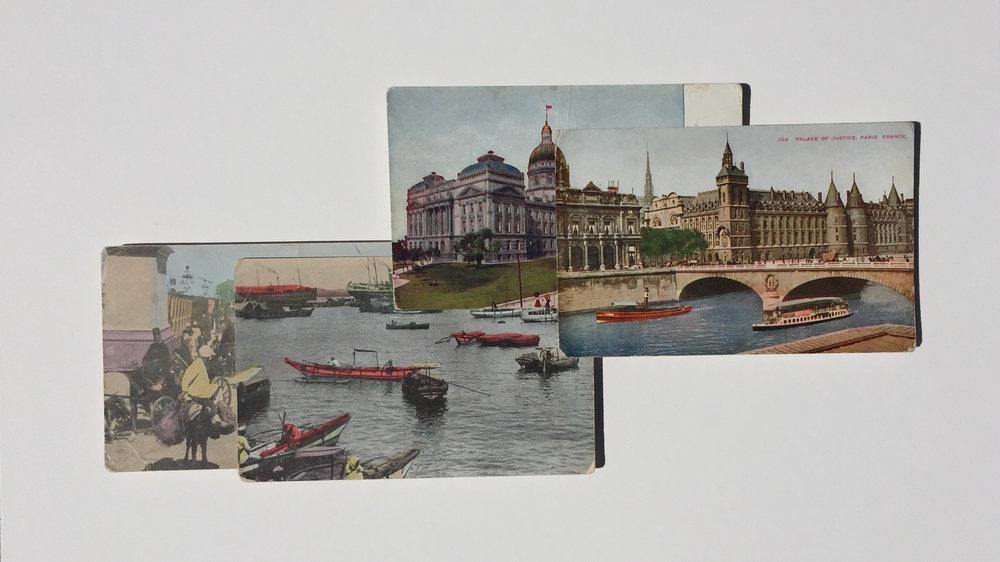 Garric Simonsen,  Postcards 6 , 2017, vintage postcard collage, 12 x 19 in. framed