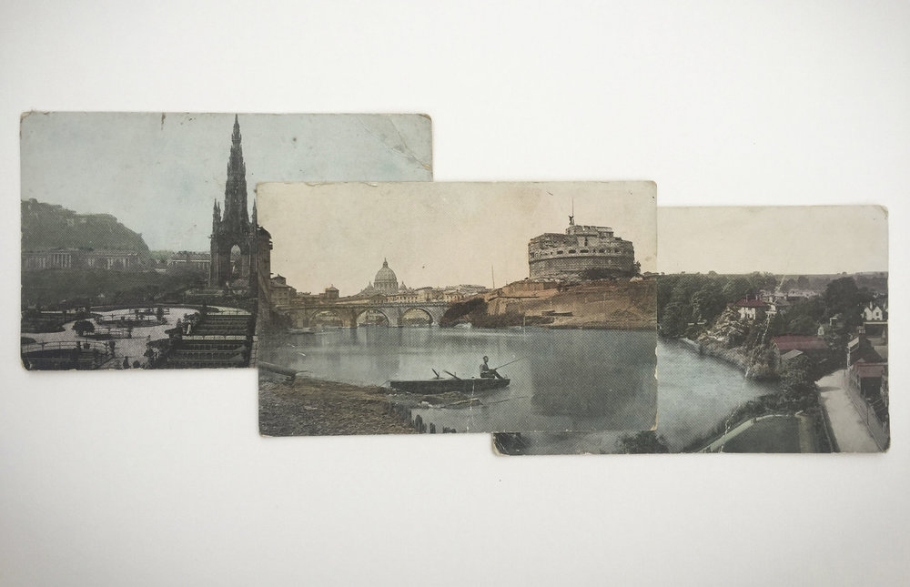 Garric Simonsen,  Postcards 3 , 2017, vintage postcard collage, 11 x 17 in. framed