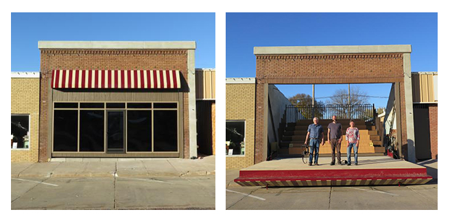 (left) Empty storefront on Main Street in Lyons  (right) Local flimmaker Bill Hedges, artist Matthew Mazzotta and community advisor Marilyn Tenney on the transformed storefront (photos credit: Kat Shiffler, Center for Rural Affairs)
