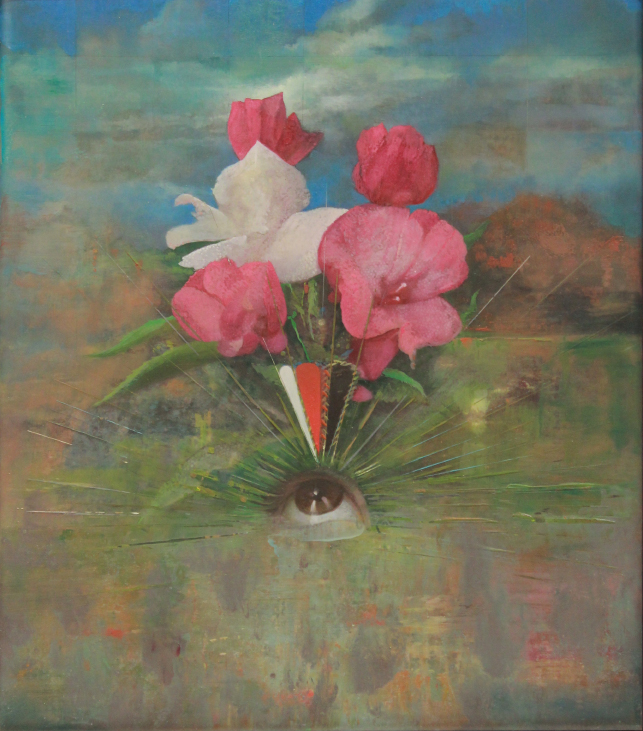 Aaron Holz,  Bouquet for Emily Dickinson,  2013, oil, resin and acrylic on panel, 19 x 17.5 in.