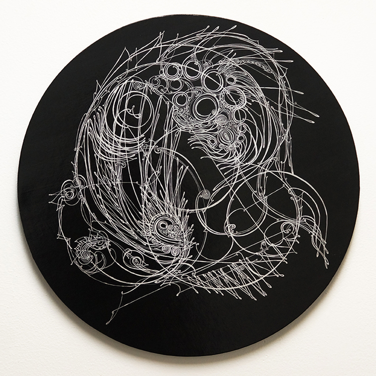 """Camille Hawbaker,  LXXVIII , 2015, ink, paper on panel, 10"""" round"""