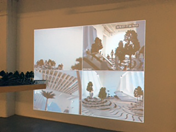 """Aaron Jones in collaboration with Wesley Taylor and Mike Demps, Detail of Video Monitor Views, """"Telematic Structures,"""" 2016, mixed-media,multimedia, video architectural installation."""