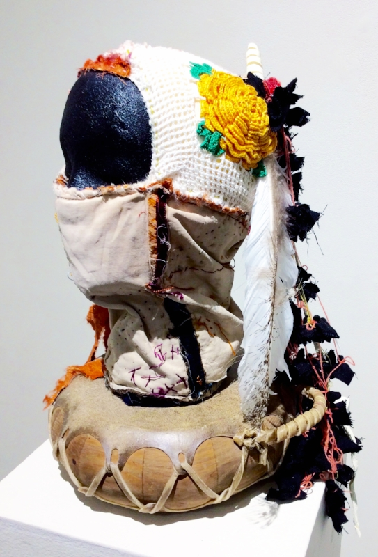 Sarah Rowe,  Earth, Air, Firewater,  2016, mixed media fabrics, linen, and yarn