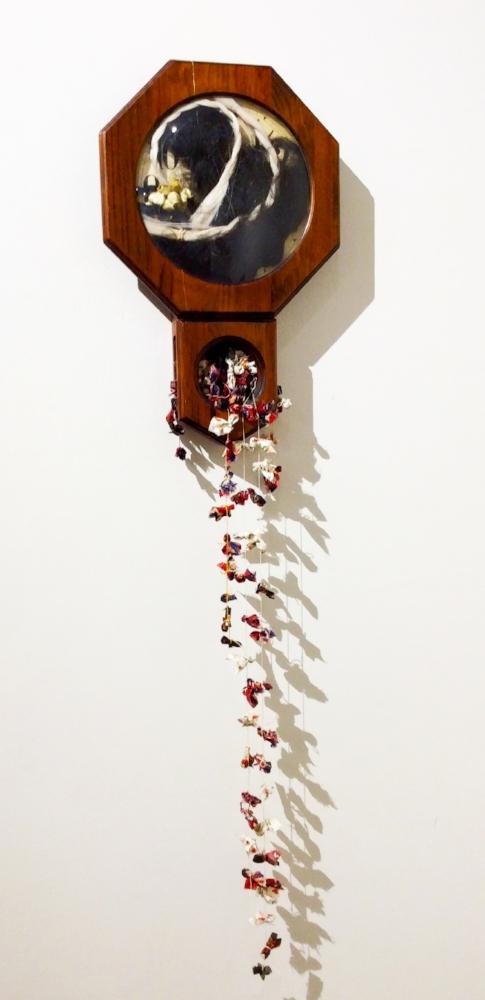 Sarah Rowe, Indian Time , clock, horsehair, prayer ties