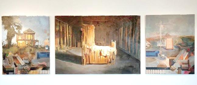 "Robert Weiss,  Inner Sanctum , acrylic on canvas, 76"" x 52"" (center canvas), 41 1/2"" x 52"" (right canvas), 41 1/2"" x 52"" (left canvas)"