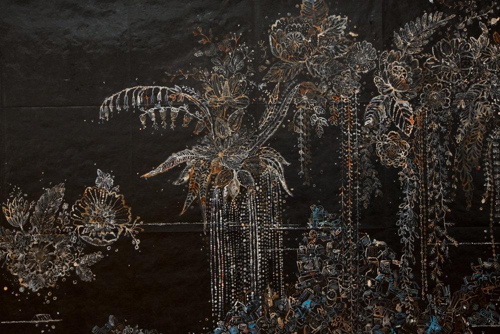 Nancy Friedemann-Sánchez, River (detail) , 2017, ink on tyvek. Photo credit Dana Damewood