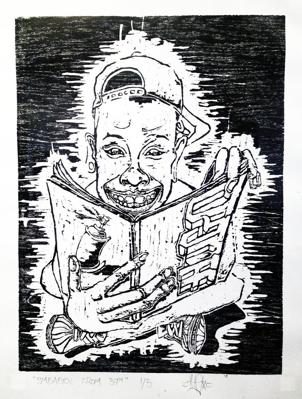 Hugo Zamorano, Smeagol From 39TH , 2016, woodblock print, 29 x21 ½ in.