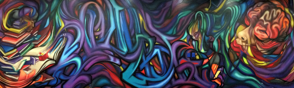 Hugo Zamorano, Graffiti Writing, 2017, UNO Student Center, spray paint, photos courtesy of the artist
