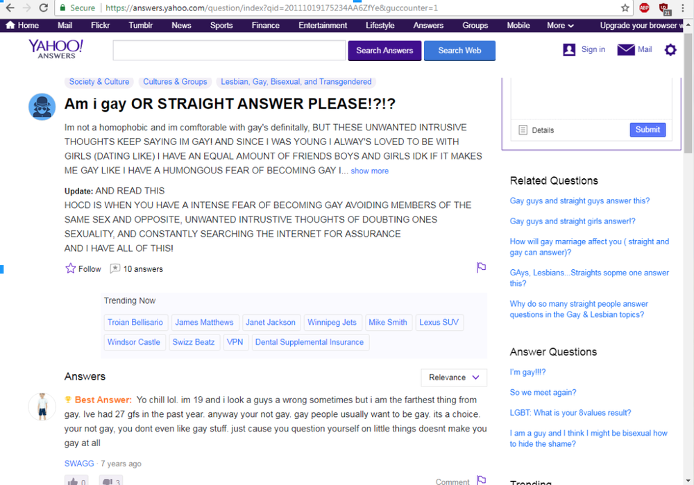 Question submitted by an anonymous user from answers.yahoo.com (2007)