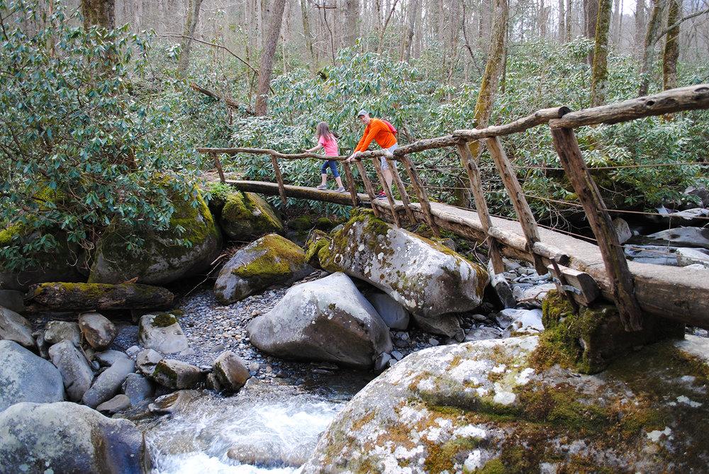 The narrow bridge along Porter's Creek trail. Hikers provide a sense of scale.