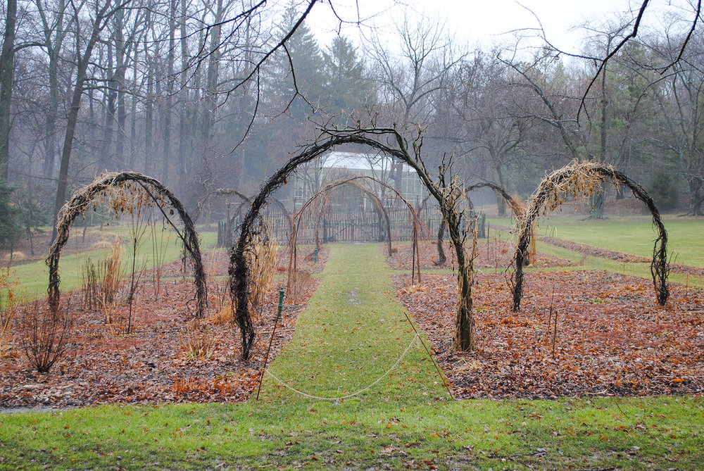 With the dormancy and death of plants in the cut flower garden, curved arches provide drama when little remains.  I like to appreciate their importance by imagining their absence.