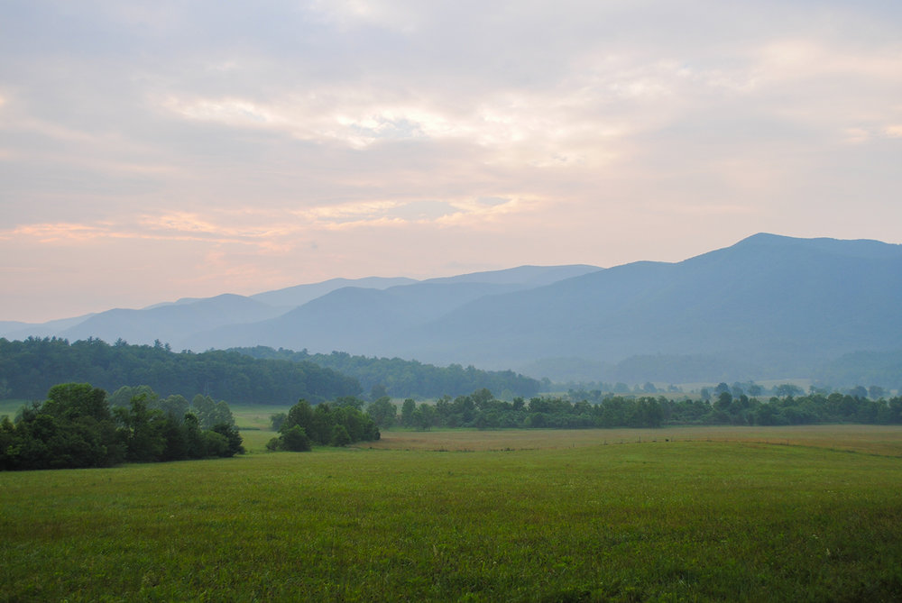 A quick pic from the car of the glorious Cades Cove at dawn.