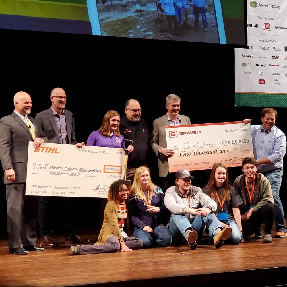 And, here we are on stage winning the social media contest! If you want to see more pics from the competition, check out our    @sfahorticulture    Instagram page.