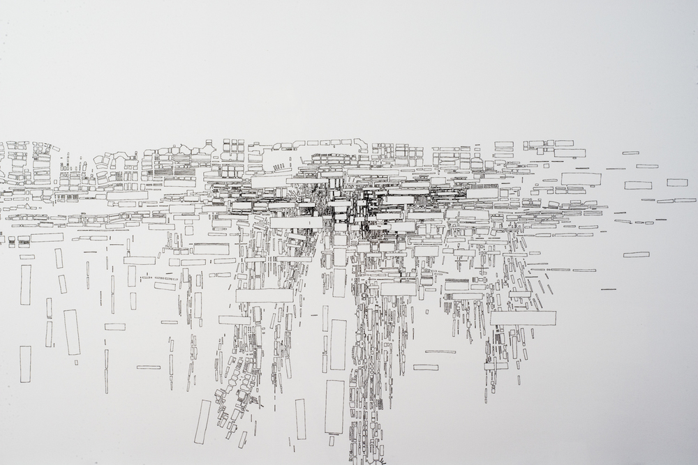 "Colin Keefe    Strata  , 2014 Ink on Paper 30"" x 44"" (76.2cm x 1.1m) Detail ©2015 Colin Keefe/Robert Henry Contemporary"