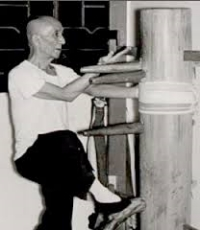 Grandmaster Yip Man technique on wooden dummy