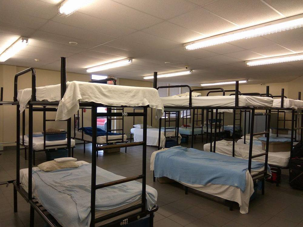 Beds for men at the shelter