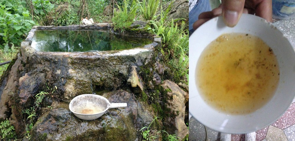 Previous water source used by the villagers. The photo to the right shows the components of the drinking water separated through electrolysis.