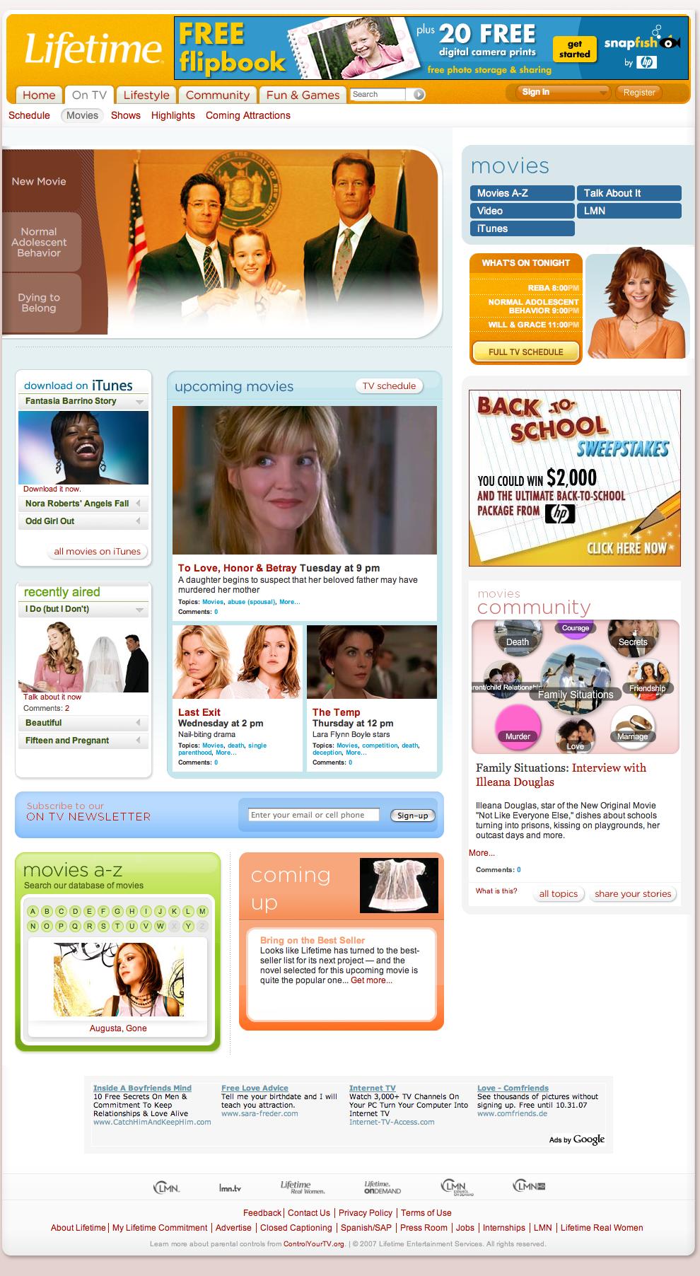LifetimeTV.com Home Page
