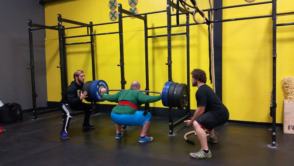 Kyle Squatting so much that two strongman world champs are his spotters :) FYI that's 505# . And for you bar math fiends its a 55# barbell....