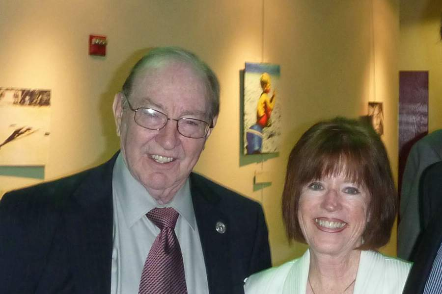 Terri with Apollo 14 astronaut Edgar D. Mitchell, ScD, 2011 inductee honoree in the Leonardo da Vinci Society for the Study of Thinking
