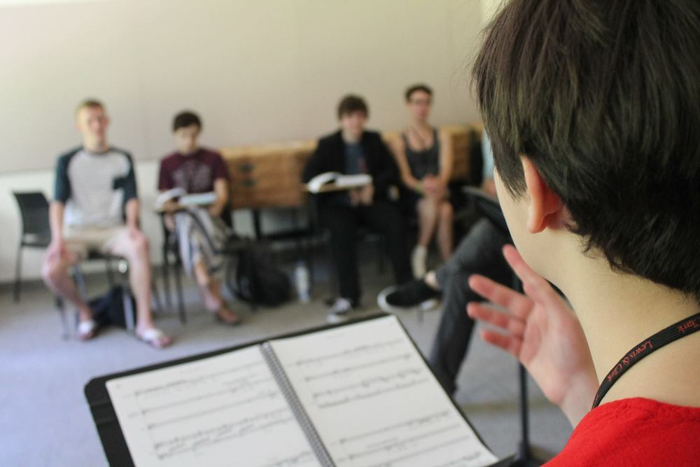 Teaching music class at the  Columbia Gorge School of Theatre , Portland, OR  Photo by Hogan Fritz