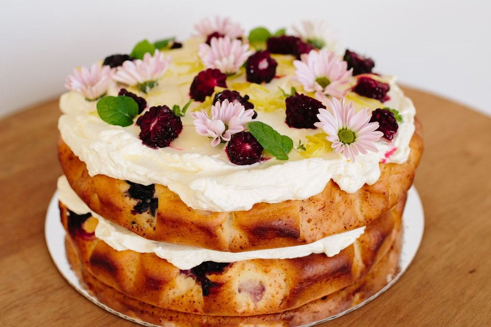 RSF lemon, honey, berry Using local honey as the sweetener and fresh cream on top, this cake is tangy and refreshing. Gluten-free also available. $75