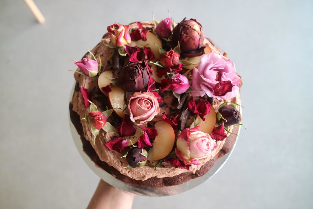 Chocolate, plum, pinot noir   Rich chocolate, juicy plums and Pinot Noir with a chocolate buttercream- a chocolate lovers' dream.  Gluten free available.  Serves 12, $75