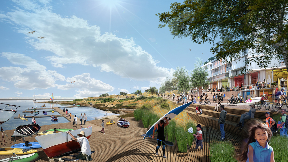 View of India Basin Marketplace and waterfront, rendering by Steel Blue