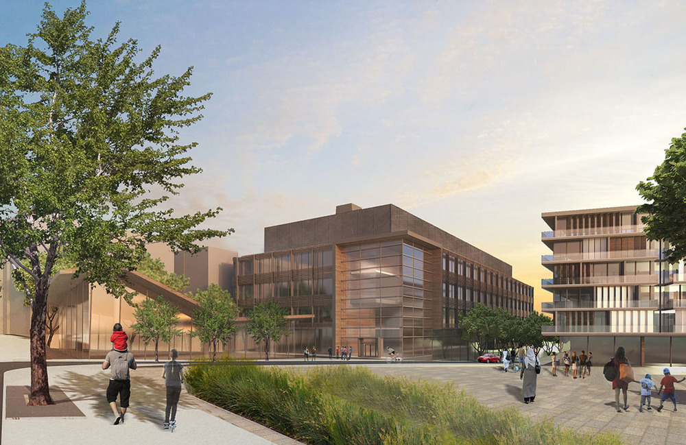 View towards commercial headquarters, rendering by Adrianne Ngam