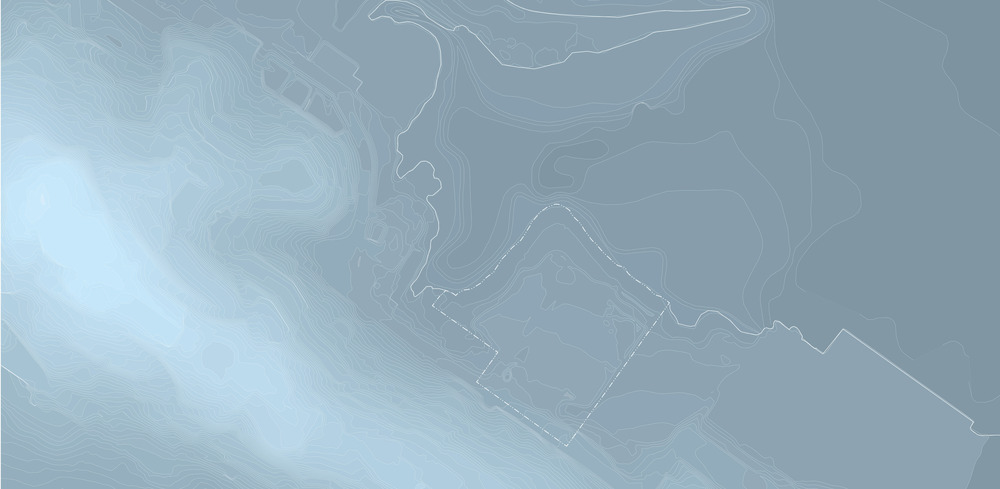 Topographic lines meet bathymetry in this illustration created for the 2014 EE application.