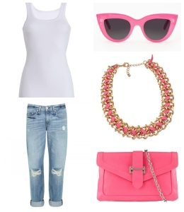 Photo courtesy of Rag & Bone, Aldo's, and Nasty Gal Simplicity is key when creating the perfect pink casual outfit.
