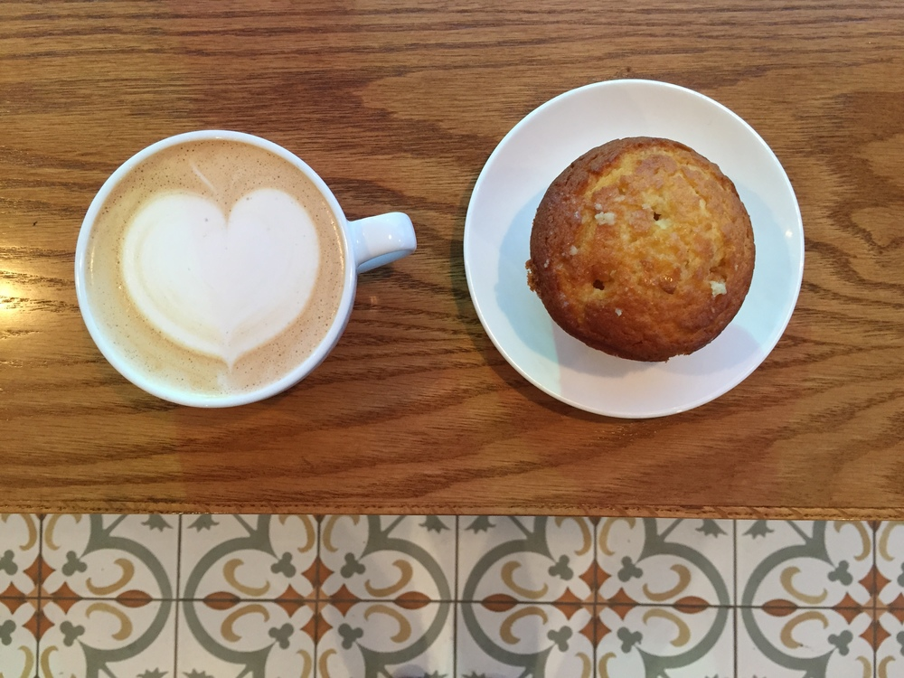 Tierra Mia's Horchatta Latte and Tres Leche Muffin.