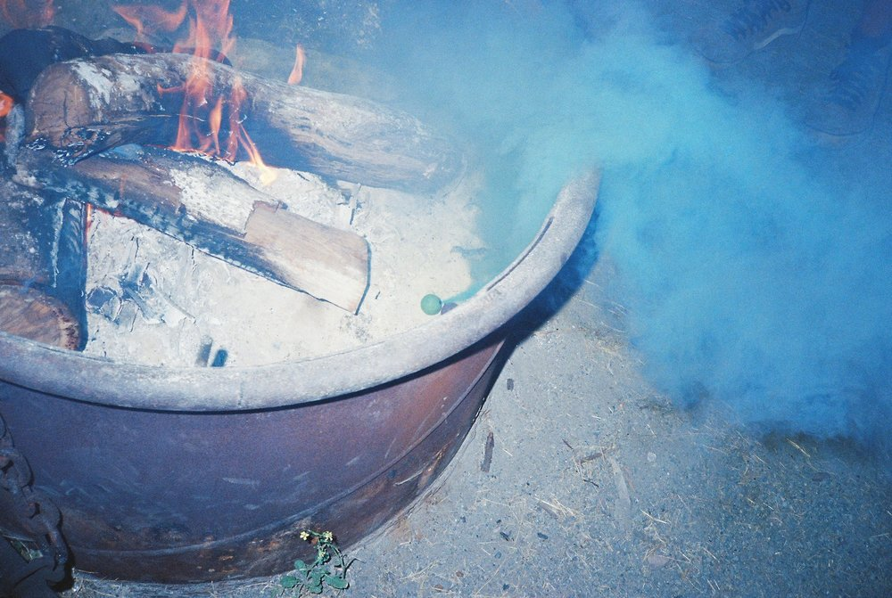 Campfires can be soothing, warming and most certainly a symbol for camping trips past, present and future. But why not throw in some colored smoke bombs to lighten things up? Sept. 28, 2017.