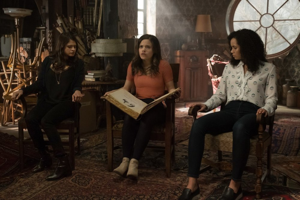 Melonie Diaz, Madeleine Mantock, and Sarah Jeffrey in  Charmed .  Photo Credit: IMDB
