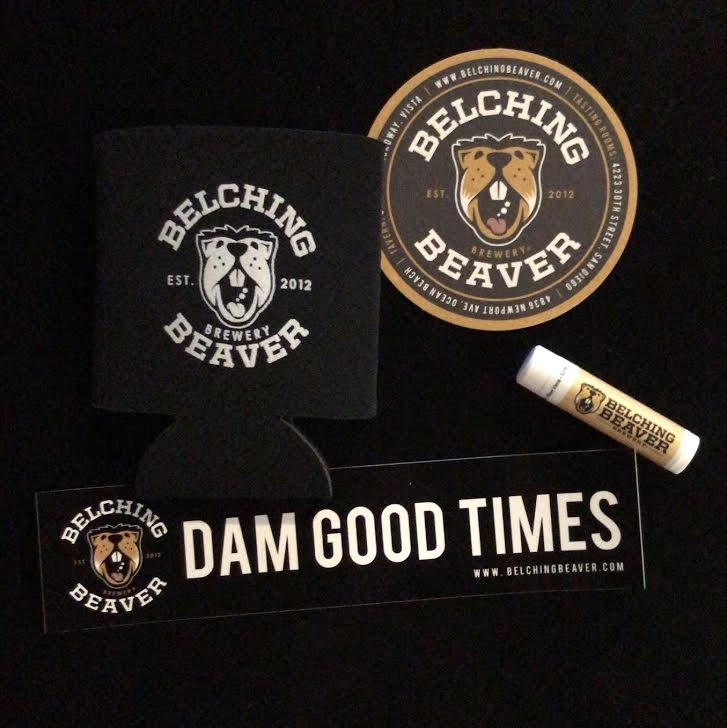 Belching Beaver swag: beer koozie, coaster, lip balm, & sticker  Photo By: Alex Lucio Jr.