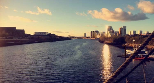 Photo: Natalie Young  A view of the Glasgow Clyde River from 'The Tall Ship' next to The Glasgow Transport Museum.
