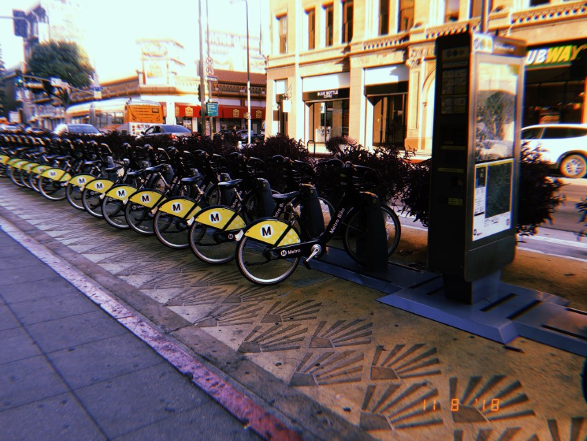 Metro Bikes are $1.75 per 30 minutes. Five dollar day passes are also available.