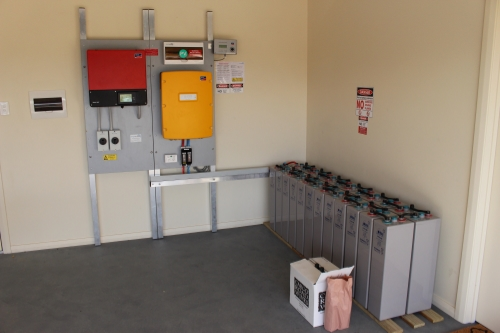Inverter on walls, lead acid batteries on floor