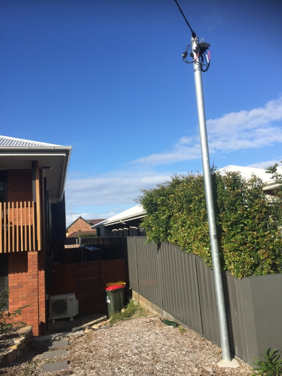 •  New pole installed by owner at own cost